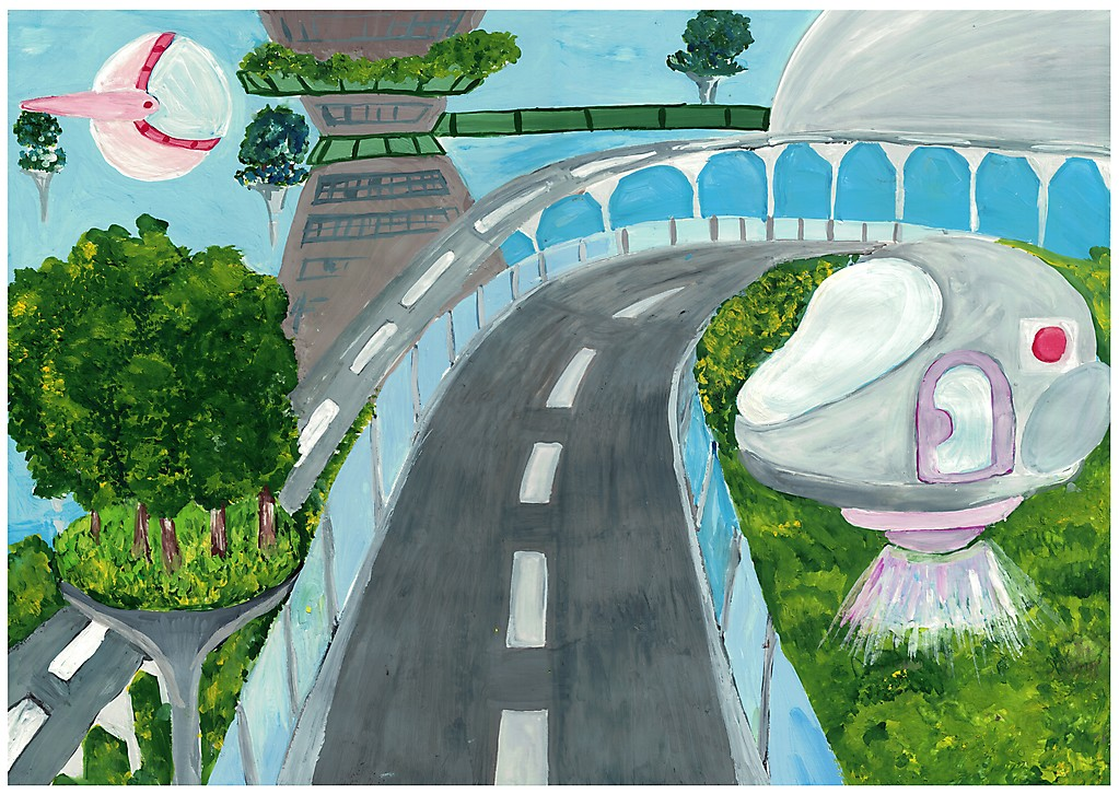 Рисунок мой поселок в далеком будущем